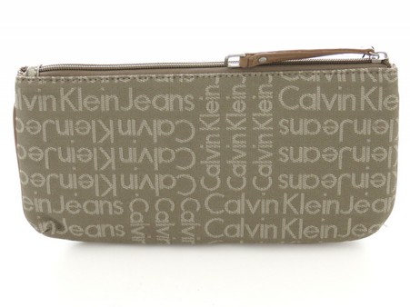Calvin Klein Necessarie in tessuto di colore beige logata all over